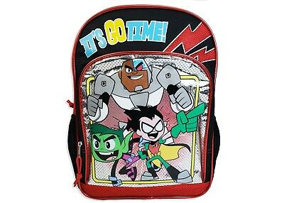 "Teen Titans Go Kids Backpack 16"" Red Black Laptop Sleeve"