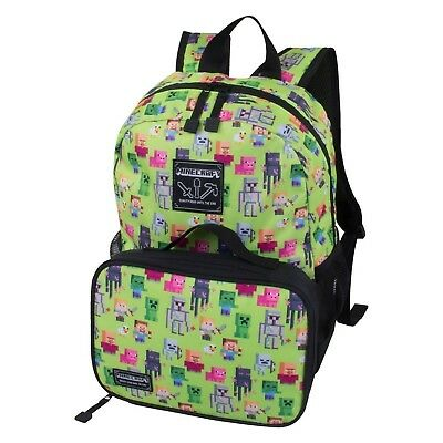 "JINX MOJANG MINECRAFT CREAPY CREEPER KIDS BACKPACK 17"" Lunchbox Included! 🔥"