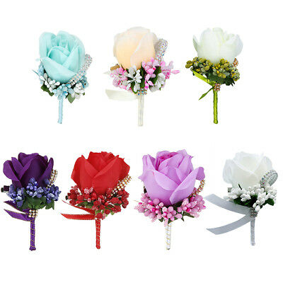 Wedding Flower Silk Rose Boutonniere Wedding Prom Groom Groomsmen Corsage Filmy