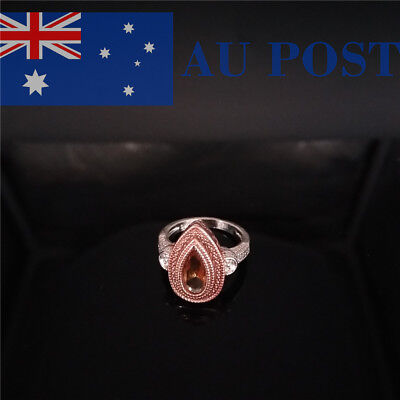 Womens Water Drop Shaped Ring Shiny Crystal Graduation Gifts Fashion Jewelry