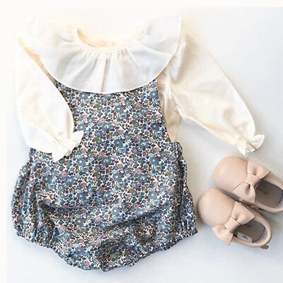 UK Newborn Baby Girl Cotton Floral Ruffle Romper Bodysuit Outfits Clothes Autumn