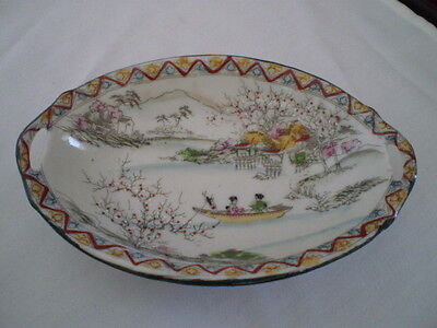 Antique Oval Nut/candy Dish/ Bowl Moriage - Geishas Boat - Nippon - Japan