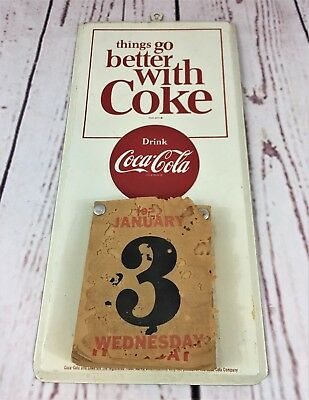 Rare Vintage Metal Diet Coke Tear-Away Calendar Soda Coca Cola Advertising