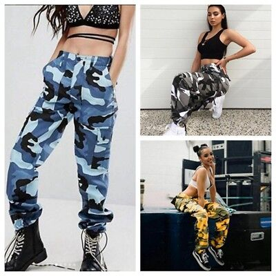 Women Cargo Trousers Casual Hip Hop Pants Military Army Combat Camo Hiking Jean