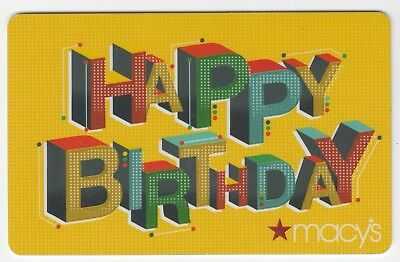 Macy's collectible gift card no value mint #30 Happy Birthday