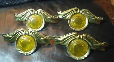 Antique original  drawer handles nice with orange pieces &  brass