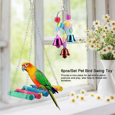 6pcs/Set Parrot Bird Cage Toy Hanging Rope Buckles Swing Ladder Birds Swing Toys