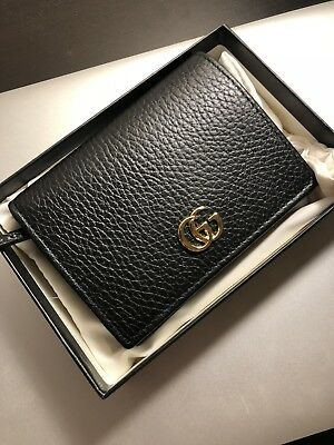 sale retailer a1c41 8cae0 GUCCI GG PETITE Marmont Leather CardCase Wallet Black, BRAND NEW