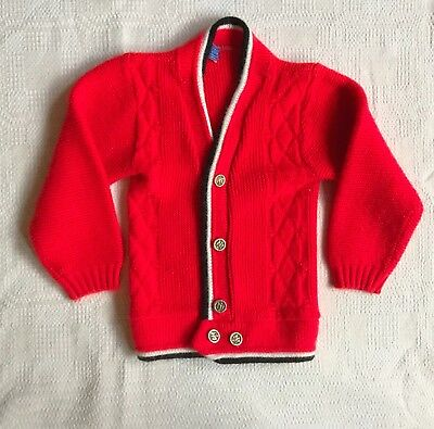 Vtg Baby Knitted Sweater Cardigan Red Montgomery Ward Acrylic MCM Rockabilly
