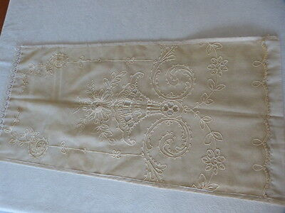 Small Antique Handmade Beige Embroidered Lace Linen Table Cover Cloth 37 by 18