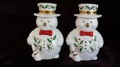 Lenox Holiday Holly Berry Snowmen Candle Stick Holders Set of 2