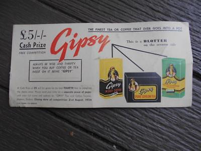 1954 Gipsy Tea Coffee advertising blotter Durban South Africa gold label ceylon