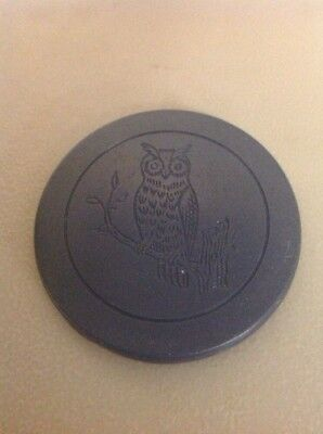 RARE ANTIQUE VINTAGE OWL CLUB BIRD CLAY POKER CHIP EARLY Blue