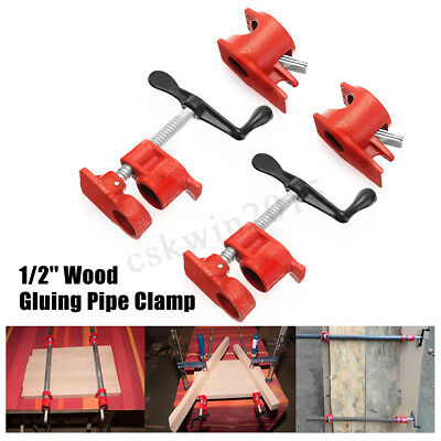 4X 1/2'' Heavy Duty Cast Iron Woodworking Gluing Pipe Clamp Carpenters Tool