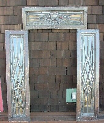 3pc. Set Antique American Beveled Glass Transom and Sidelights in Zinc