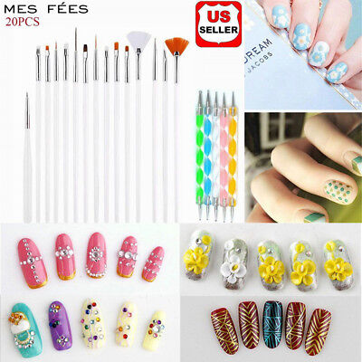 20Pc Painting Dotting Drill Pen Nail Gel Polish Manicure Tools Brush Accessories