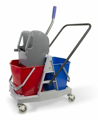 "Double Trolley 2 Bucket Wischsystem Plastic with Metallschubbügel "" Robust """