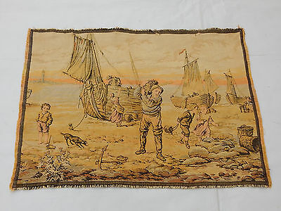 Antiques t1032 Vintage French Beautiful Scene Tapestry 95x49cm