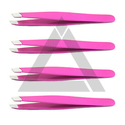 Eyebrow Hair Removal Plucking Tweezers Professional Pink Slanted Tip Stainless