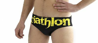 Turbo Slip de Bain Hommes Triathlon Basic Noir Jaune Water Polo Professionnel