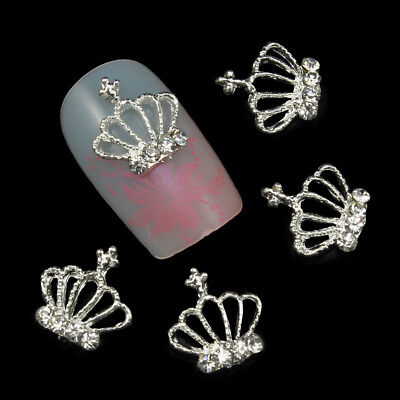 10pcs Lady's 3D Chic Rhinestone Crown Nail Art Tips Glitter Beads DIY Nail Decor