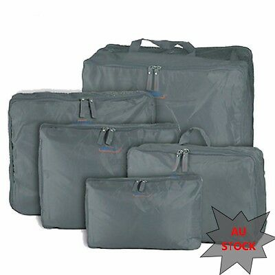 5Pc Packing Cube Pouch Travel Bags Clothes Storage Luggage Organizer Grey AU