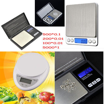 5000g X 1g 0.01g Digital Pocket Scale Jewelry Weight Electronic Balance Gram EN