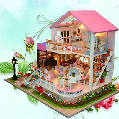 Kids Toys Handmade DIY Doll House With Furniture&Staircase For Barbie Dollhouse