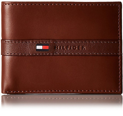 Clothing, Shoes & Accessories TOMMY HILFIGER MEN'S BANDED RUBBER LOGO LEATHER BIFOLD WALLET NAVY BLUE Wallets