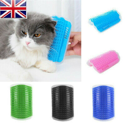 UK Dog Pet Cat Wall Corner Massage Rubber Comb Self Groomer Brush Cleaner Toy