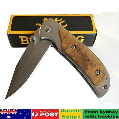Pocket Folding Opening Knife Camping Hunting Fishing Stainless Steel Blade AU