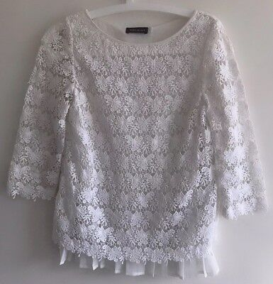 Mint Velvet Women's Uk Size 8 Lace Layered White Top