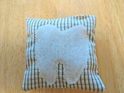 HANDMADE UNISEX GIRL or BOY TOOTH FAIRY PILLOW VTG GREEN CHECK  FABRIC