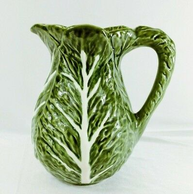 """Olfaire Green Cabbage Leaf Pitcher 8 1/4"""" Embossed White Veins P1049 - Excellent"""