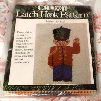 "Vintage Carron Latch Hook Pattern Soldier 3094 Canvas Only 20"" x 27"" 1978 USA"