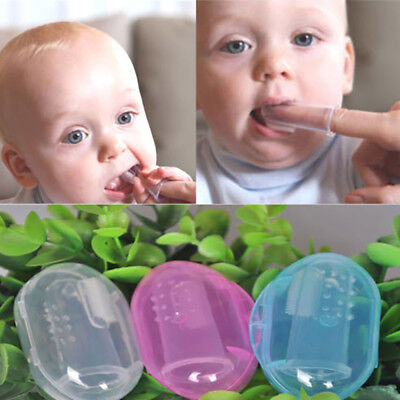 3x Baby Infant Soft Silicone Rubber Finger Toothbrush Teeth Massager Brush + Box