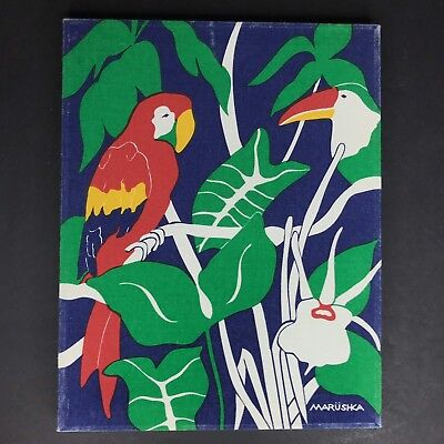 """Vtg Marushka Toucan Parrot Birds Screen Print Stretched Fabric Wood Frame 14x11"""""""