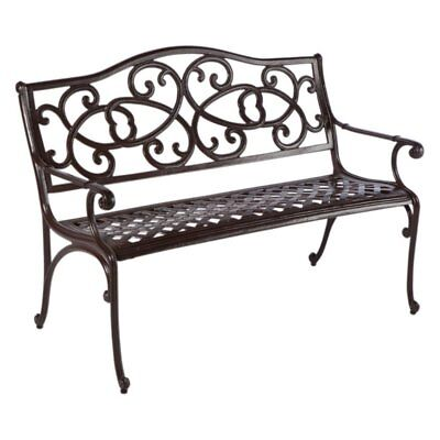 Alfresco Home Daffodil 4 ft. Cast Aluminum Garden Bench - Aged Iron