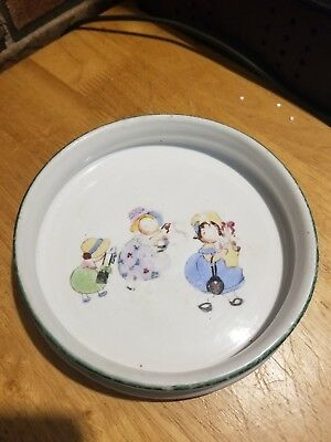 Antique Nippon Baby Bowl With Children Playing Porcelain