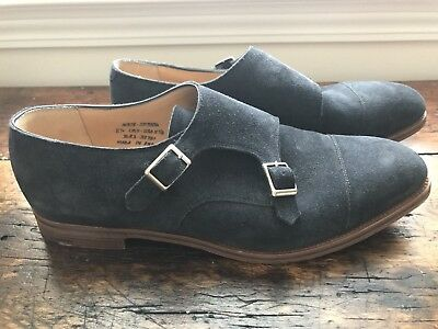 c866b43a72024 Alfred Sargent for J Crew Double Monk Strap Shoes size 11.5 Navy Suede A1378