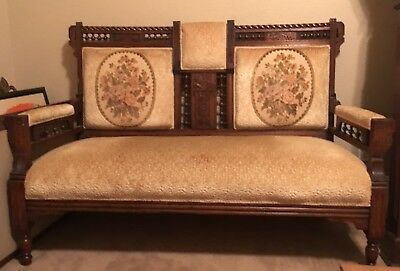 Eastlake Victorian Antique Settee Love Seat Carved Wood Parlor Bench 19th cent.