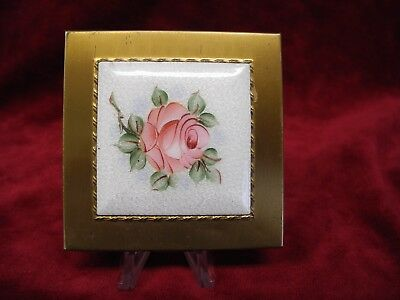 Vintage Dorset Fifth Ave Ladies Compact Enamel Top HP Cabbage Rose Original Puff