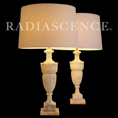 Large Classic Hollywood Regency Modern Marble Table Lamps Dorothy Draper 1950