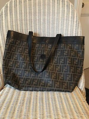 AUTHENTIC FENDI ZUCCA Pattern Shoulder Tote Bag Brown and Black ... fa6fa466f1
