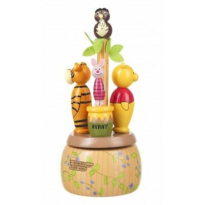 Winnie The Pooh Musical Carousel Wooden Baby Gift Christening New Baby Lullaby