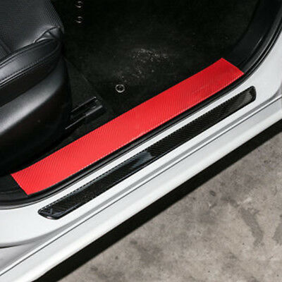 2x Universal Car Door Sill Carbon Fiber Scuff Plate Cover Panel Step Protector