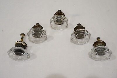 Antique Clear Glass Cabinet Knobs Pulls 1 3/4, 1 1/4  L Lot of 5 Authentic