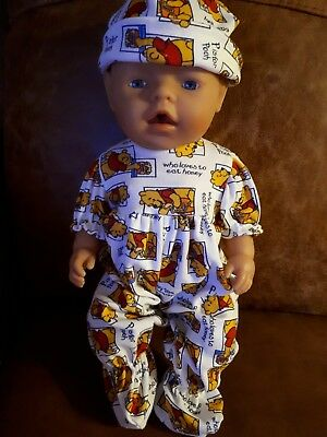 Hand made dolls clothes for 14-16 inch,  baby gro +matching hat