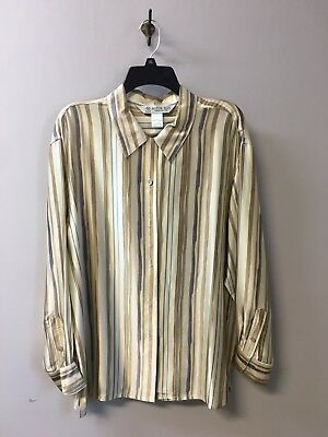 Vtg AUSTIN REED Women's 100% Silk Shirt -Striped Long Sleeve Blouse  Size 14