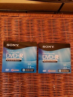 Lot of 2 Sony Handycam DVD-R 60 min 2.8 GB NEW, SEALED Double Sided Double Face